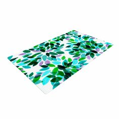 "Ebi Emporium ""Dahlia Dots 7"" Teal Green Woven Area Rug from KESS InHouse"