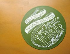 Lyrics painted on records... The artists sells them on Etsy.com and you can request custom lyrics.