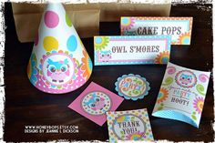 Mod Owl DELUXE Printable Set for Birthday or Baby Shower by HoneyBops, $59.95