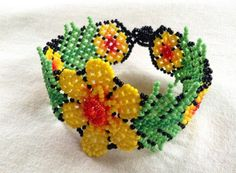 Bright Yellow Huichol Bracelet Beaded by BiuluArtisanBoutique Beading Patterns, Flower Patterns, Native American Jewelry, Beaded Flowers, Bead Art, Nativity, Crochet Earrings, Floral Wreath, Bright Yellow