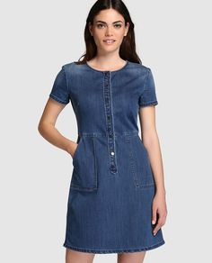 Vestido vaquero de mujer Armani Jeans en azul Nice Dresses, Casual Dresses, Fashion Dresses, Jeans Dress, Dress Skirt, Denim Ideas, Denim Top, African Dress, Denim Fashion