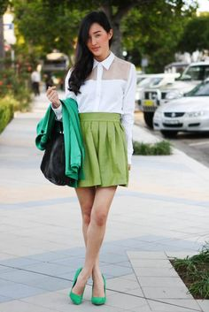 green pleated skirt 2017 with button down shirt 2017