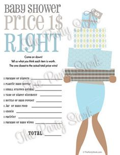 Unique Baby Shower Games, Price is Right Baby Shower Game, PRINTABLE for Boy, African American or Caucasian via Etsy by jerri Baby Shower Games Unique, Baby Shower Parties, Baby Boy Shower, Baby Showers, Games For Boys, Baby Games, Do It Yourself Baby, Price Is Right Games, Party