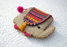 Elephant coin bag wire holder handmade gift bohemian by VLiving Jute Crafts, Felt Crafts, Fabric Crafts, Sewing Crafts, Sewing Projects, Hand Embroidery, Embroidery Designs, Coin Bag, Acrylic Wool