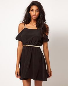 ASOS Dress With Cold Shoulder And Belt