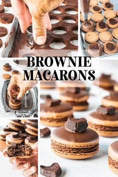 These brownie macarons feature a brownie filling, with rich chocolate frosting. The top shell is dipped in chocolate, and then topped with a brownie heart. Baking Recipes, Cookie Recipes, Dessert Recipes, Amish Recipes, Dutch Recipes, Oven Recipes, Easy Recipes, Recipies, Just Desserts
