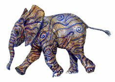 Young elephant waling - Watercolor by Frits Ahlefeldt #animal #africa #tribal #tattoos #spirit #elephant