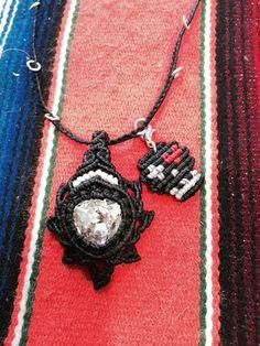 macrame necklace with macrame calavera