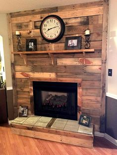 DIY Pallet Fireplace | 101 Pallet Ideas - Organize your home decors over bottom and also over the top mantle level and enjoy the rustic version of pallets wood #fireplace ....