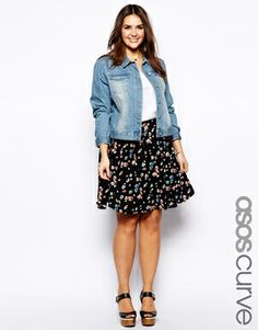 Image 1 of ASOS CURVE Exclusive Skater Skirt In Floral Print