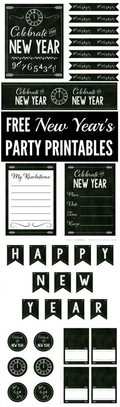 Free Chalkboard New Year's Party Printables filled with everything you need to throw a great New Year's Eve party or New Year's day party! | CatchMyParty.com