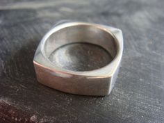 Square Mens Sterling Silver Band Wedding Ring Size by JennKoDesign, $135.00
