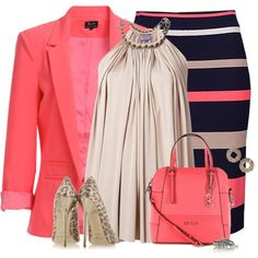 """Mixed Patterns for the Office"" by dragonflyy86 on Polyvore"