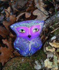 Night owl dreams - ceramic Ocarina. Bird figurine. Moonlight in the mushroom forest. by Jivizvuk on Etsy