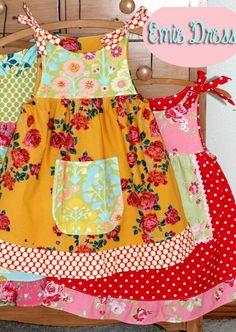 The Emie Dress Instant Download PDF Pattern DIY Tutorial Girls Toddler Size 1-6 Little