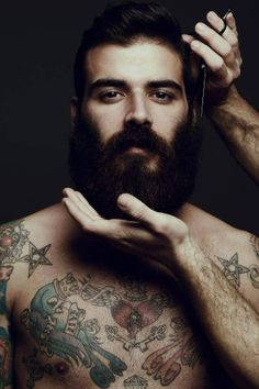 getting a trim - so handsome !! <3 very full thick dark beard and mustache beards bearded man men tattoos tattooed hairy chest furry trimming barber nice eyes burly so handsome #beardsforever