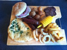 Exotic meats mixed grill, alpaca sausages, mouflon steak and crocodile burgers!
