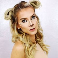quick + easy Halloween hair + makeup tutorial | makes a really cute last minute costume. Bambi makeup but this hairstyle can work for any sweet lil woodland creature your heart leads you to be. @leighannsays