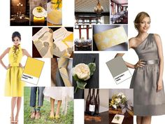Dream Wedding Colors and Bridemaid's dresses. ....mannn, I love a good mustard/gray combo.