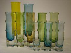 1960s bamboo vases in different colours by Bo Borgström for Åseda.