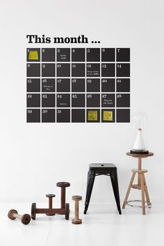 Ferm Living Wall Stickers: This Danish company has some of the prettiest wall stickers we've seen, including a new perpetual calendar designed with chalkboard tiles. Chalkboard Calendar, Calendar Stickers, Chalkboard Paint, Chalk Paint, Chalk Wall, Large Chalkboard, Chalkboard Stickers, Blackboard Wall, Kitchen Chalkboard