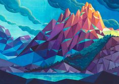Polygonal Landscape Paintings by Laura Bifano – Inspiration Grid Art And Illustration, Mountain Illustration, Illustrations, Geometric Nature, Polygon Art, Watercolor Sketchbook, Painting Inspiration, Design Inspiration, Creative Inspiration