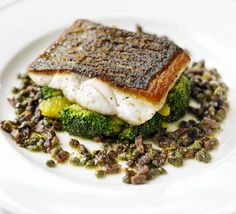 Pan-fried sea bass with citrus-dressed broccoli recipe - Recipes - BBC Good Food