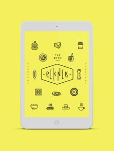 PIK NIK by Oddds, via Behance PIK NIK, a rebranding project for a cafe with a modern spin on the proposed logo. Callouts and descriptive words are seen throughout the menu to bring out random quirks about the food with its unique selections. Each section carries the different plates of each food/drink type.  A combination of graphic icons, lines, bold, circles and baring-it-all approach.