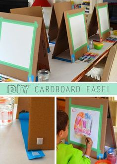DIY Cardboard Easel There are many ways to make a quick easel. I might have learned quite a few tricks if I had actually researched before I made this project. But I'm much mo More<br> A quick and easy way to make a table easel out of cardboard. Projects For Kids, Art Projects, Crafts For Kids, Diy Crafts, Weaving Projects, School Projects, Kunst Party, Arte Elemental, Diy Easel