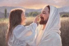 Jesus Christ – Gentle Touch Painting - A fine art painting of a young girl gently playing with Christ. Painting by Karen Foster. Many sizes available framed or as a canvas wrap or single print. Jesus Christ Lds, God Jesus, Savior, Jesus Father, Jesus Scriptures, Images Du Christ, Pictures Of Jesus Christ, Jesus Wallpaper, Image Jesus