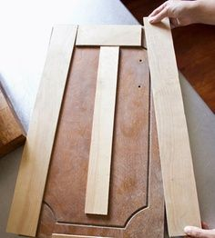 Re-face cabinet doors with thin strips of plywood