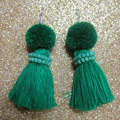 Pom poms and tassel earrings, two of my favorite things together at last!