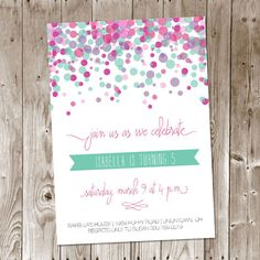 Colorful Confetti Birthday Party Invitation