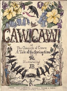 """Book Illustration of """"Caw Caw or The Chronicle Of Crows, A Tale Of Springtime"""" by J. (probably Jemima Blackburn Scottish Artist . Author R. Crow Art, Raven Art, Crow Or Raven, Vintage Book Covers, Vintage Books, Illustrations, Children's Book Illustration, Group Of Crows, Jackdaw"""