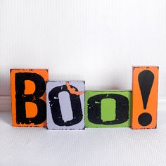 Boo! - wooden block set - Halloween decorations | @adamsandcompany #adamsandco #Krumpets