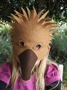 Hedgehog mask and Australian Echidna mask PDF by EbonyShae on Etsy Animal Costumes, Boy Costumes, Halloween Costumes, Costume Ideas, Activities For Kids, Crafts For Kids, Jasmine Costume, Kids Dress Up, Echidna