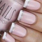 pink silver french manicure 150x150 Γαλλικό νυφικό μανικιουρ!