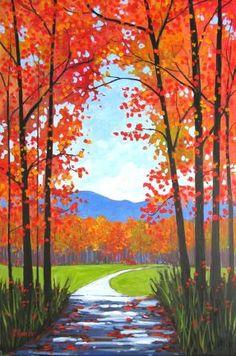 Fall Canvas Painting, Autumn Painting, Autumn Art, Canvas Art, Canvas Crafts, Autumn Trees, Easy Landscape Paintings, Scenery Paintings, Landscape Art