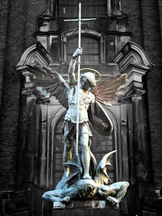 Archangel Michael conquering the Devil...  Hamburg, Germany -  St. Michaelis Church  Tombamasta,     Artemis:  For Traveller.  :)