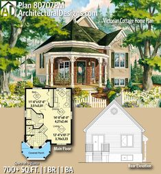 Victorian Cottage Home Plan Plan Victorian Cottage Home Plan Anja Treptow anjatreptow simspiration Architectural Designs Tiny House Plan gives you Cottage House Plans, Small House Plans, Cottage Homes, Guest Cottage Plans, Small Room Design, Tiny House Design, Home Design, Sims House Plans, House Floor Plans