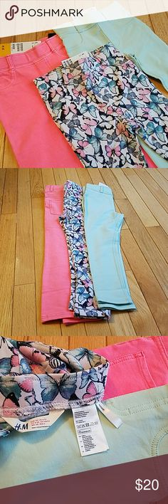 Bundle H&M Tregging / leggings, coordinating Bundle of coordinated color treggings. They are called treggings because they fit like leggings but are designed to look like trousers. Faux pocket in front. Real pocket in back. Stretchy material (see tag in pictures). Butterfly pattern. Mint green. Pink ). Prices for all three together. Great coordinating set possibilities for twins. H&M Bottoms Leggings