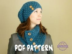 Slouch Beanie and Button Scarf Knitting Pattern by BoPeepsBonnets