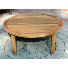 36 Natural Teak Round Outdoor Patio Wooden Coffee Table, Brown, Patio Furniture