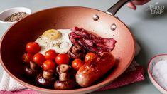 coconut oil 1 pork sausage 5 mushrooms 2 strips bacon Small handful cherry tomatoes 1 large egg Sea salt, to taste Avocado Recipes, Egg Recipes, Pork Recipes, Paleo Recipes, Free Recipes, Paleo Meal Plan, Paleo Diet, Ketogenic Diet, Healthy Recipes
