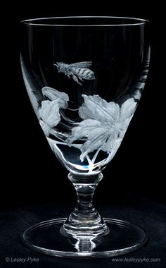 Hand engraved bee & flower goblet by Lesley Pyke
