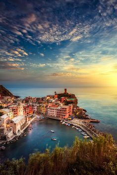 Sunset in Vernazza, Italy. This town was so cool, it made the book! www.mauiwriter.com/frenchdiary
