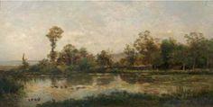 CHARLES FRANÇOIS DAUBIGNY 1817–1878, La mare aux canards, Villerville, 1860 Huile sur bois, 19 × 37,5 cm