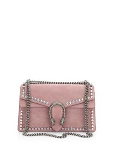 GUCCI Small Crystal-Embellished Suede Chain Shoulder Bag. #gucci #bags #shoulder bags #hand bags #lining #suede #crystal #