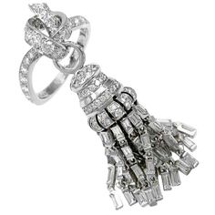 Van Cleef and Arpels Diamond Tassel White Gold Ring | From a unique collection of vintage cocktail rings at http://www.1stdibs.com/jewelry/rings/cocktail-rings/