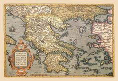 Map of Greece 28x42 Giclee on Canvas